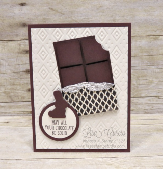 Basket Bunch candy bar card, chocolate,Stampin' Up!, card, paper, craft, scrapbook, rubber stamp, hobby, how to, DIY, handmade, Live with Lisa, Lisa's Stamp Studio, Lisa Curcio, www.lisasstampstudio.com