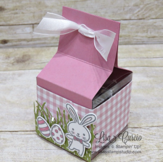 Basket Bunch Tiny Treat Box great for candy or small gifts. Video tutorial included. Stampin' Up!, card, paper, craft, scrapbook, rubber stamp, hobby, how to, DIY, handmade, Live with Lisa, Lisa's Stamp Studio, Lisa Curcio, www.lisasstampstudio.com