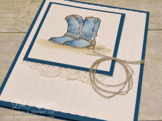 Country Livin' Rhinestone Boots, Stampin' Up!, card, paper, craft, scrapbook, rubber stamp, hobby, how to, DIY, handmade, Live with Lisa, Lisa's Stamp Studio, Lisa Curcio, www.lisasstampstudio.com