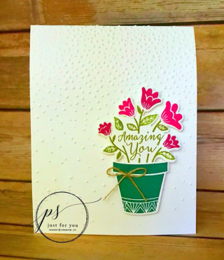 Grown with Love simple potted note card, Stampin' Up!, card, paper, craft, scrapbook, rubber stamp, hobby, how to, DIY, handmade, Live with Lisa, Lisa's Stamp Studio, Lisa Curcio, www.lisasstampstudio.com