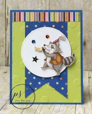 Raccoon Birthday Delivery tutorial, Stampin' Up!, card, paper, craft, scrapbook, rubber stamp, hobby, how to, DIY, handmade, Live with Lisa, Lisa's Stamp Studio, Lisa Curcio, www.lisasstampstudio.com
