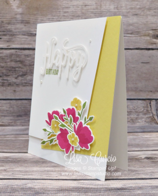 It's a corner layer with a beautiful bouquet! Stampin' Up!, card, paper, craft, scrapbook, rubber stamp, hobby, how to, DIY, handmade, Live with Lisa, Lisa's Stamp Studio, Lisa Curcio, www.lisasstampstudio.com