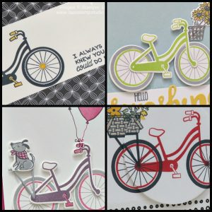 Bike Ride Bundle card collection with 4 different cards. PDF tutorials.