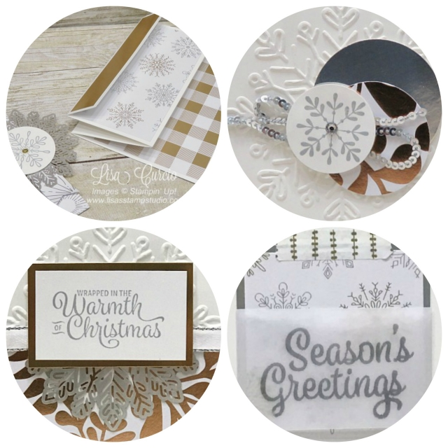 PDF tutorial for 4 different Christmas cards using the Snowflake Sentiments by Stampin' Up!
