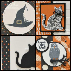 Spooky Cat & Cat Punch. 4 different cards in a PDF tutorial with Lisa's Stamp Studio. Products by Stampin' Up!