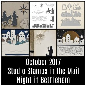 Stamp with me from home with Studio Stamps in the Mail for October 2017. Including pre-cut supplies to make 8 cards, Night of Bethlehem stamps & dies, video & PDF tutorial. Lisa's Stamp Studio.
