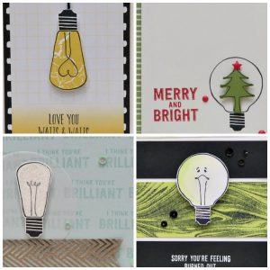 4 different cards created with the Watts of Occasions stamp set including Christmas and everyday greetings. PDF tutorials through Lisa's Stamp Studio. Products from Stampin' Up!