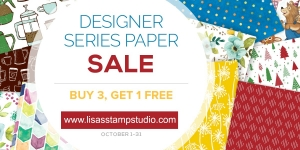 Buy 3 get 1 free designer paper sale. Stock up and save! Stampin' Up!