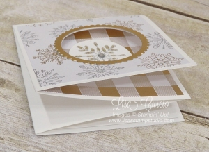 Closed and angle view of a corner pop up swing card using Stampin' Up!'s Snowflake Sentiments.