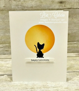 Harvest moon with a black cat silhouette makes the perfect Halloween card. You've Got Style by Stampin' Up!
