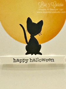 Masking technique with sponging creates the perfect fall moon for this black cat. Halloween card uses You've Got Style by Stampin' Up!.