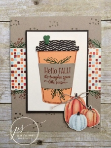Nothing speaks fall like a chai or pumpkin coffee. Create your own using the Merry Cafe stamp set from Stampin' Up!.