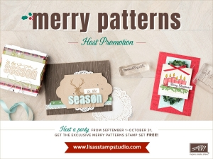 Merry Patterns stamp set is free with a qualifying order during September and October 2017.