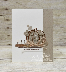 Pick a Pumpkin stamp set from Stampin' Up! with a copper foil pumpkin, fall sprig and metallic washi tape.