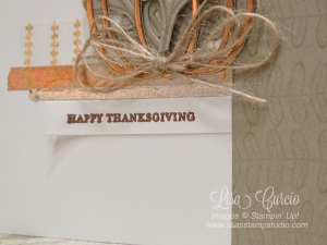 Burlap strands adore the bottom of this copper pumpkin filled with leaves and sprigs for fall. The metallic washi tape is stunning. Pick a Pumpkin, Stampin' Up!