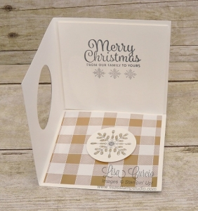 Open view of a corner pop up swing card using Stampin' Up!'s Snowflake Sentiments.