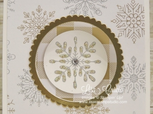 Gorgeous spotlight of glitter mix snowflake with gold accents. Corner Pop Up Swing Card.