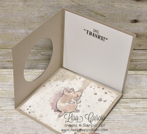 Open view of a corner pop up swing panel card using This Little Piggy.
