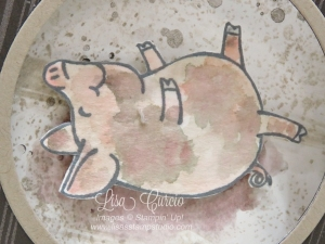 All pigs love mud. Make your own using ink pads and an Aqua Painter. This Little Piggy from Stampin' Up!.