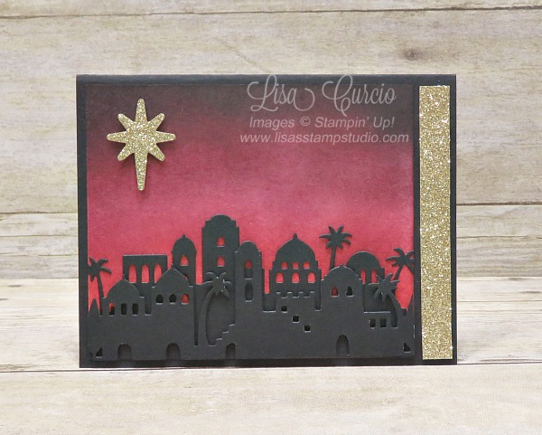 Beautifully sponged sky in tones of raspberry and black create the perfect silhouette for this Bethlehem cityscape Christmas card. Stampin' Up!'s Bethlehem Edgelits.