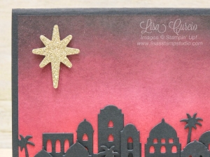 This gold glimmer star is the focal point for this beautifully sponged background of a Bethlehem skyline. Uses Stampin' Up!'s Bethlehem Edgelits.