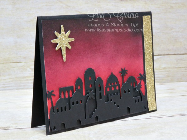 The 3D look of these Bethlehem Edgelits create the perfect skyline draped across a beautifully sponged night sky. Stampin' Up!