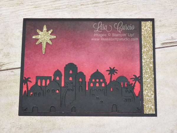 Sponging creates dramatic colors of a night sky for the Bethlehem Edgelits silhouette. Stampin' Up!