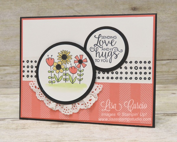 Send love and hugs with this cheerful card. Flowers are bordered in a doily in front of a washi tape and designer paper background. Garden Girl & Ribbon of Courage by Stampin' Up!