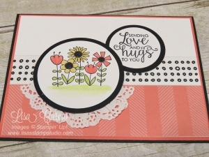 Ariel view of a bright floral card using wide washi tape and touches of a doily. Simple but sos pretty. Garden Girl & Ribbon of Courage by Stampin' Up!