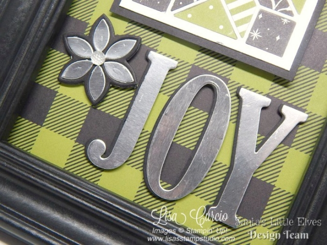 Create joy this Christmas with a handmade framed art project. Free tutorial. Uses Stampin' Up!'s Quilt Builder & Large Letter Framelits.