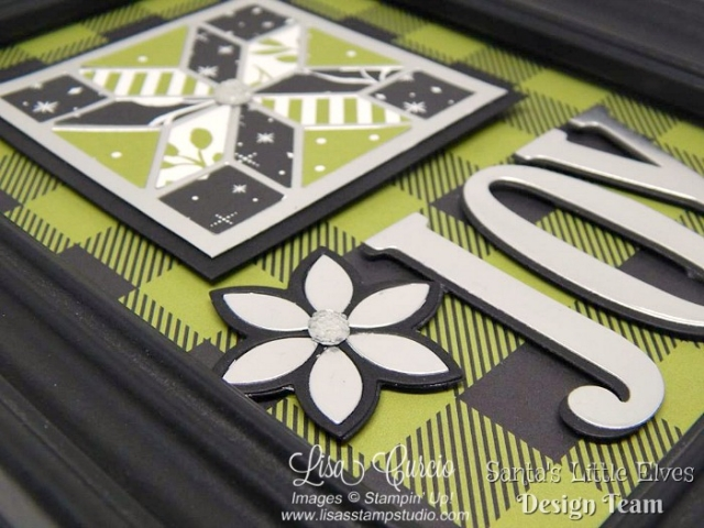 Bling it up! Add clear faceted gems to framed art for the perfect Christmas gift. Free tutorial. Quilt Builder & Large Letter Framelits from Stampin' Up!'s