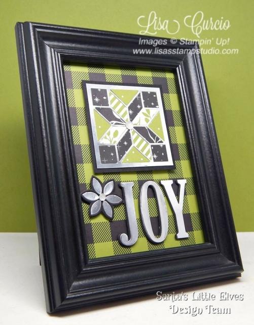 Framed art makes a great gift. Die cut the word JOY, add designer paper and foil embellishments. Uses Stampin' Up!'s Quilt Builder & Large Letter Framelits.