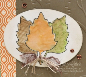 Framelit dies used as stencils to create a trio of autumn leaves. Stunning! Stampin' Up!'s Leaflets Framelits.