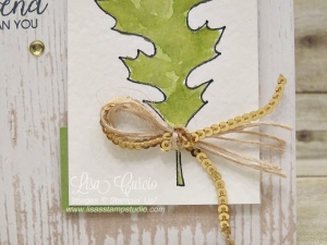 It's all in the details! This leaf was created by tracing a framelit die and watercoloring the image. Stampin' Up!'s Leaflets Framelits.