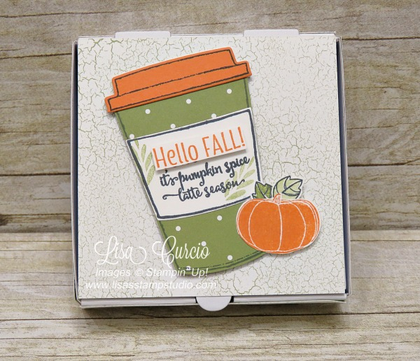 Package up pumpkin spiced tea in mini pizza boxes decorated with an adorable theme as a fall gift. Uses Stampin' Up!'s Merry Cafe and Pick a Pumpkin stamp sets.