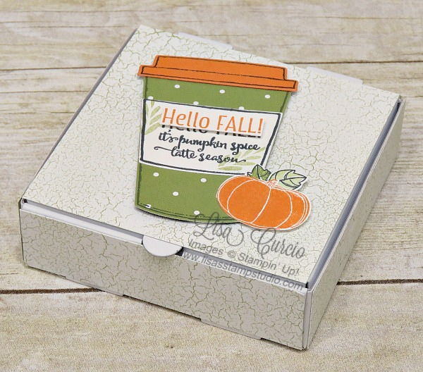 Pumpkin spice screams fall. Fill these mini pizza boxes with spiced coffee mixes for a fun gift or party favor. Stampin' Up!'s Merry Cafe and Pick a Pumpkin stamp sets.