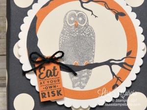 Eat at your own risk owl perched in a tree on the lid of a Mini Pizza Box. Perfect for Halloween party favors. Stampin' Up!'s Spooky Cat & Spooky Night designer paper.