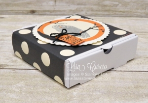 Easy and fun Halloween Mini Pizza Box uses the owl from the Spooky Cat stamp set from Stampin' Up!