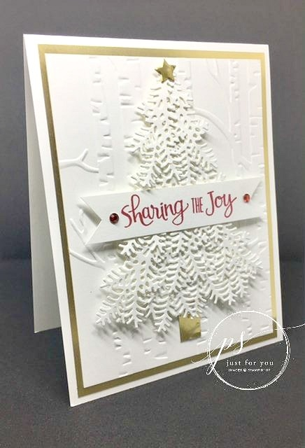 Layers of realistic branches were die cut for this gorgeous Christmas tree. A simple red sentiment off sets the white for an elegant greeting. Stampin' Up!'s Ready for Christmas Bundle.
