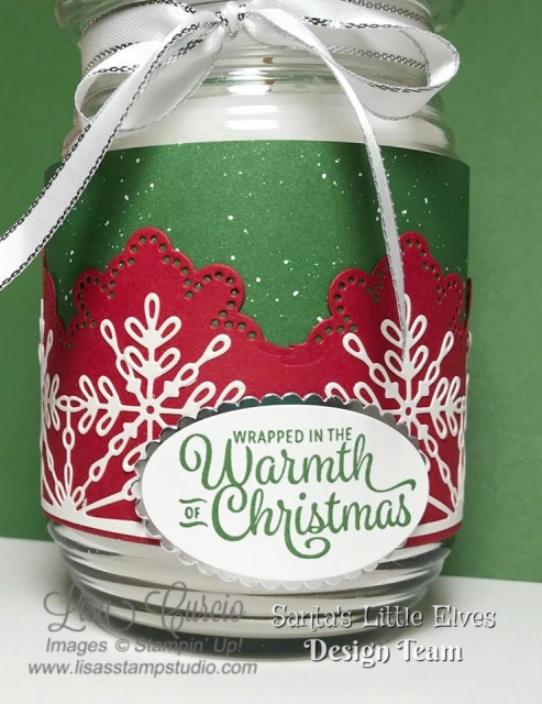 Wrap a jar candle with beautiful die cut pieces and designer paper. Free tutorial. Stampin' Up!'s Wrapped in Warmth stamp set.