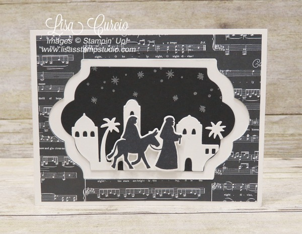 Fancy z-fold is interactive and boasts a skyline of Bethlehem. Video tutorial included. Stampin' Up!