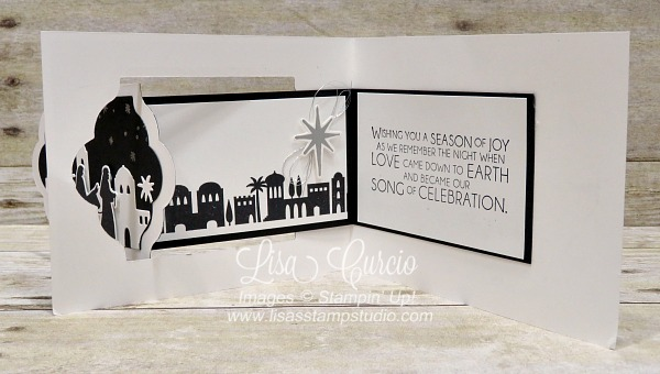 Inside view of a fancy fold called a z-fold. Video tutorial for this interactive Christmas card boasts a skyline of Bethlehem. Night in Bethlehem by Stampin' Up!