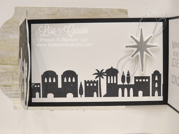 Inside left panel of a fancy z-fold. Video tutorial for this interactive Christmas card boasts a skyline of Bethlehem. Night in Bethlehem by Stampin' Up!