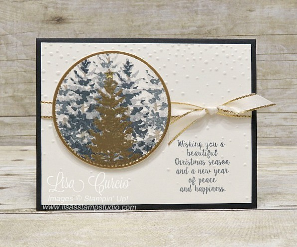 Layers of pine trees stamped to create a 3D forest feature. Gold embossing and metallic edge ribbon provide a brilliance to this scenic Christmas card. Stampin' Up! Season Like Christmas.
