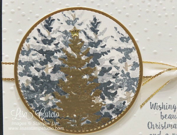 Create the perfect focal point on your Christmas cards with multiple layers of trees, highlighted by one gold embossed tree. Stampin' Up! Season Like Christmas.