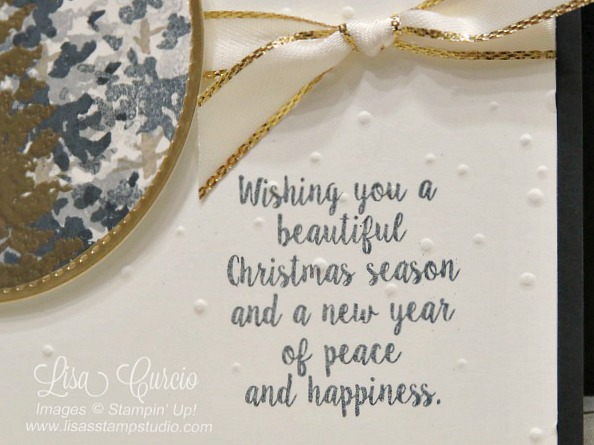 The perfect Christmas greeting is surrounded by layers of evergreens with a touch of elegant gold. Stampin' Up! Season of Christmas.