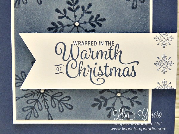 Christmas greeting on a banner surrounded by clear snowflakes created with an emboss resist technique. Video tutorial shows you how. Spotlight with Lisa.