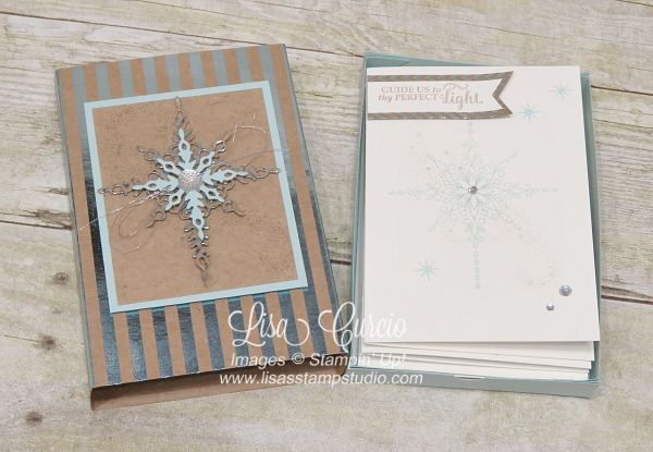 Foil sleeve for a homemade box houses coordinating note cards and envelopes using the Star of Light stamp set from Stampin' Up!
