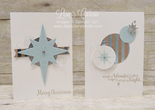 Handmade Christmas note cards using the Star of Light stamp set from Stampin' Up! video tutorial has directions for the custom box to hold these cards.