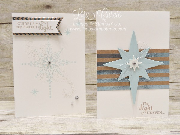 Handmade note cards using the Star of Light stamp set from Stampin' Up! video tutorial has directions for the custom box to hold these cards.